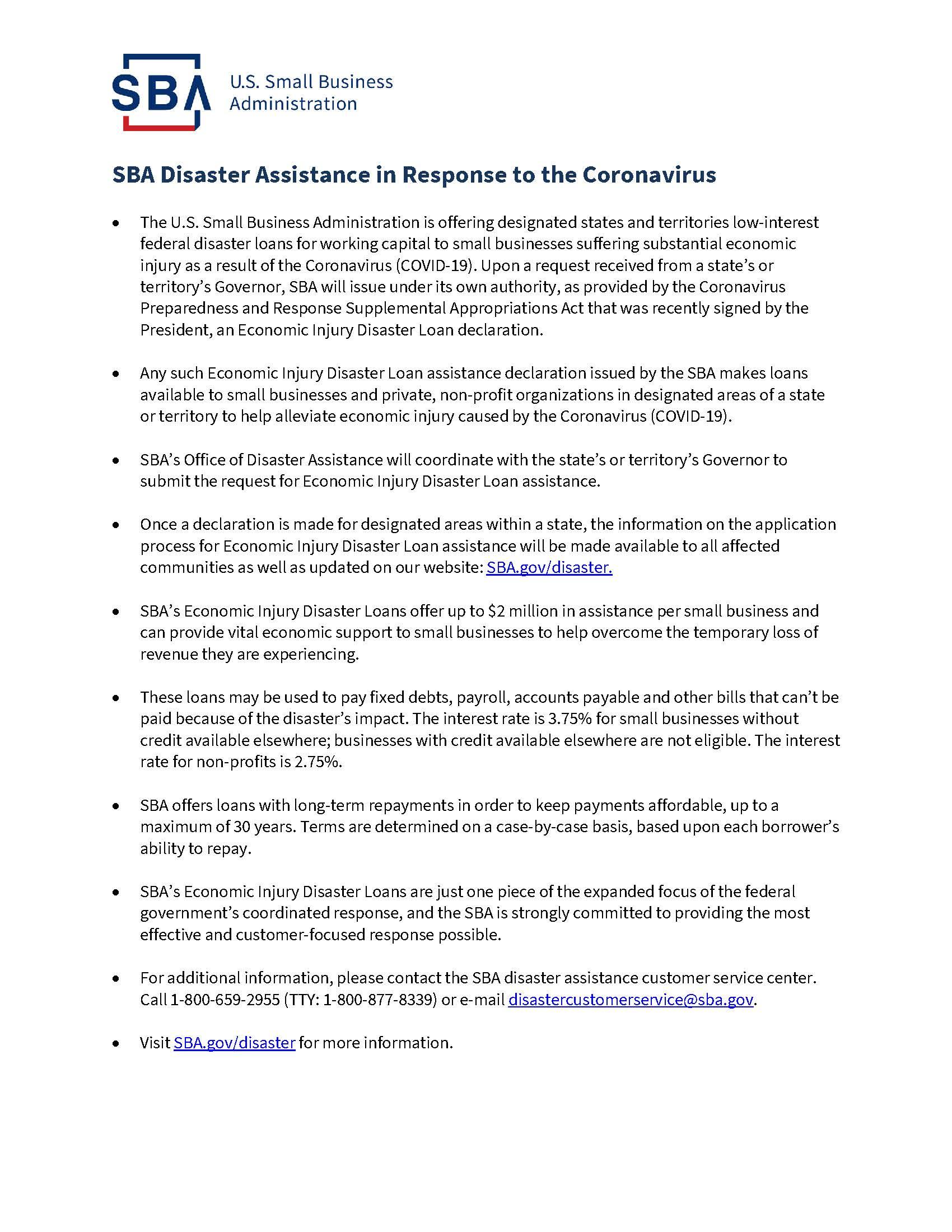 SBA Disaster Assistance Flyer
